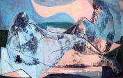 2 Akte, 2 nudes, Öl auf Papier auf Leinwand geleimt, oil on paper on canvas, 87 cm x 46 cm, 2010