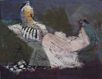 Am Abend, in the evening, Öl auf Papier, oil on paper, 80 cm x 60 cm, 2006