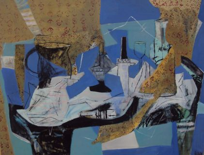 Blaue Stunde, blue hour, Öl und Kohle auf Leinwand, oil and charcoal on canvas, 98 cm x 89 cm, 2010