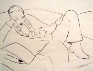 Liegender, lying man Siebdruck, silkscreen, 50 cm x 30 cm, 2010