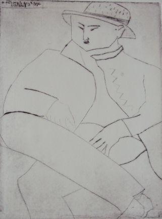 Maler, painter, Kaltnadelradierung, drypoint etching, 13 cm x 17 cm, 2007
