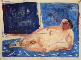 Odaliske ( blau), odalisque (blue), Öl auf Papier, oil on paper, 37 cm x 22 cm, 2006