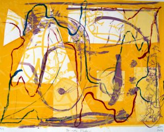 der rote Faden, guiding line, Siebdruck, silkscreen, 35 cm x 26 cm, 2004