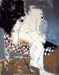 Sitzender, seated, Öl auf Papier, oil on paper, 50 cm x 40 cm, 2006