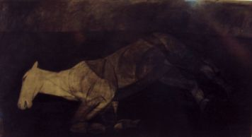 totes Pferd, dead horse Kohlezeichnung auf Packpapier, charcoal drawing on wrapping paper, 100 cm x 60 cm, 2014