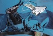Zeitungsleser, newspaper reader, Öl auf Leinwand, oil on canvas, 60 cm x 38 cm, 2008