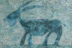 Ziege, goat, Acryl auf Leinwand, acrylic on canvas, 56cm x 80cm, 2016