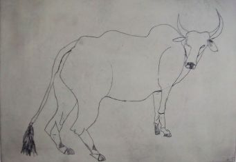 Bock, buck, vernis mou, 45cm x 29 cm, 2017
