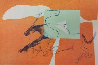 Flucht. escape. Algrafie/ Schablonendruck. Algrafie/ pencil printing 54 cm x 38 cm 2017