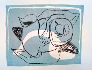 Stillleben (blau), still life (blue), Lithografie, lithography, 21 cm x 30 cm, 2019
